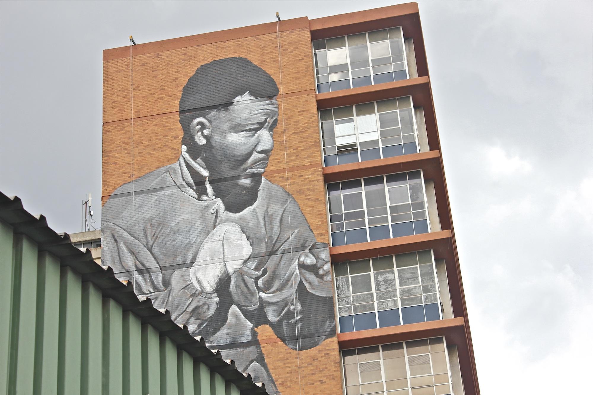 Madiba memorial mural in Maboneng Precinct