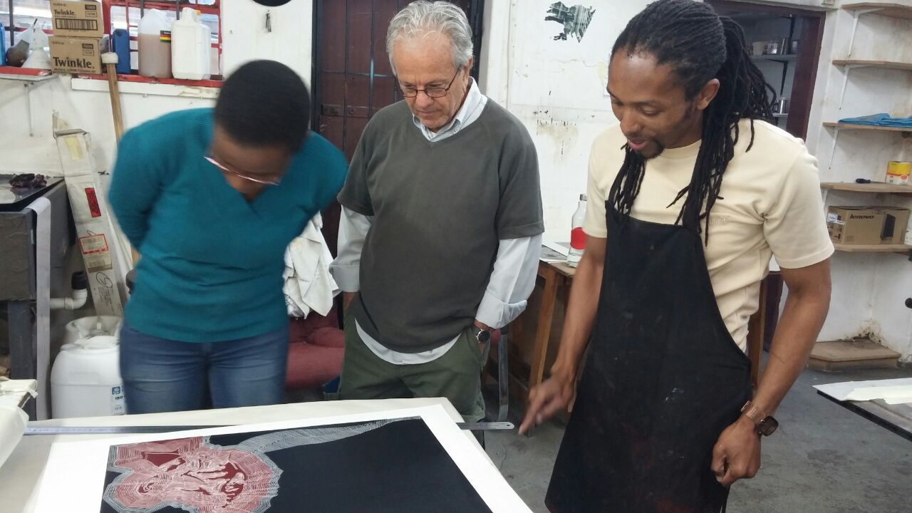 Siphiwe Ncube, David Krut and Kabelo Kim Modise in DKW in Parkwood