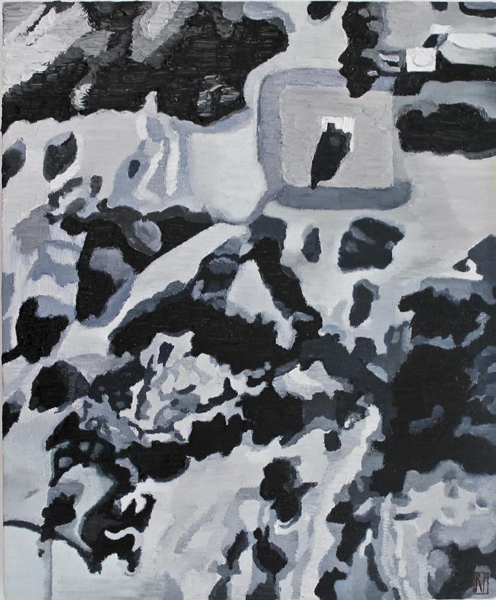 """26°09'55.39""""S,  28°02'25.18E, 2014, Robyn Penn - Oil on canvas"""