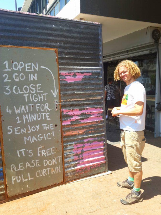 Artist St. John Fuller stands outside The Shack on Jan Smuts Avenue