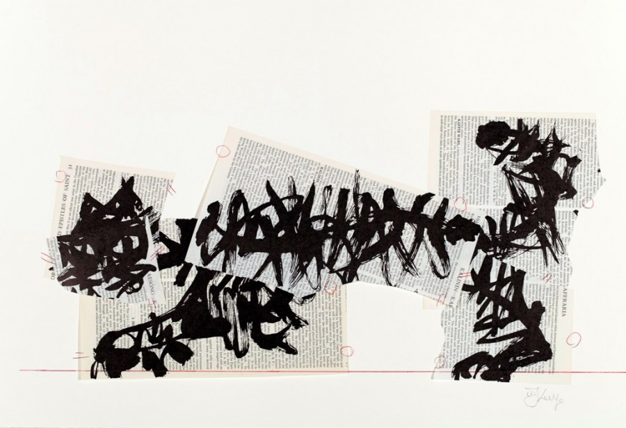 Universal Archive Ref. 21, 2012 - William Kentridge - Linocut printed on non-archival dictionary pages