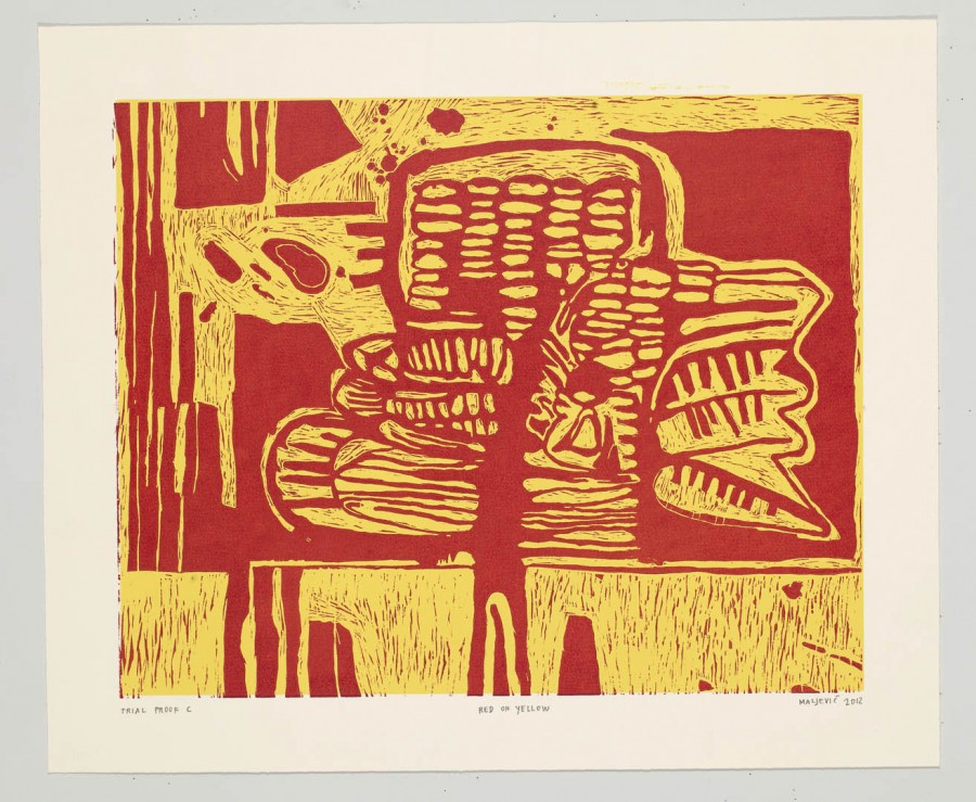 Red on Yellow, 2012 - Maja Maljevic - Woodcut
