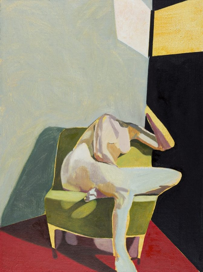 Headless Nude (Seated, Black/Red, Yellow Light)