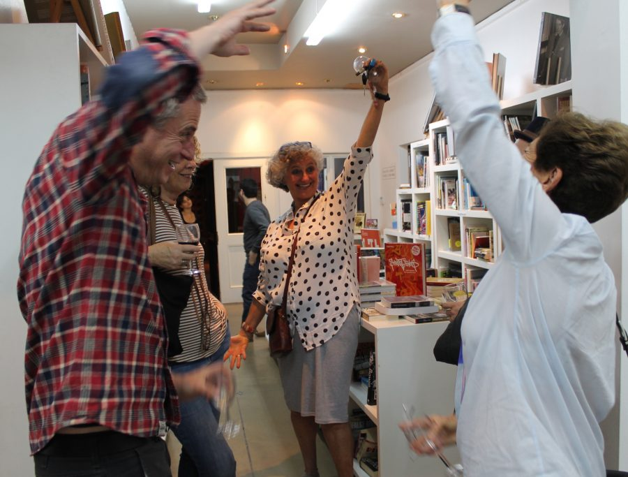 At David Krut Bookstore, a lively crowd gathered to celebrate exhibition openings of St. John Fuller and Robyn Penn.