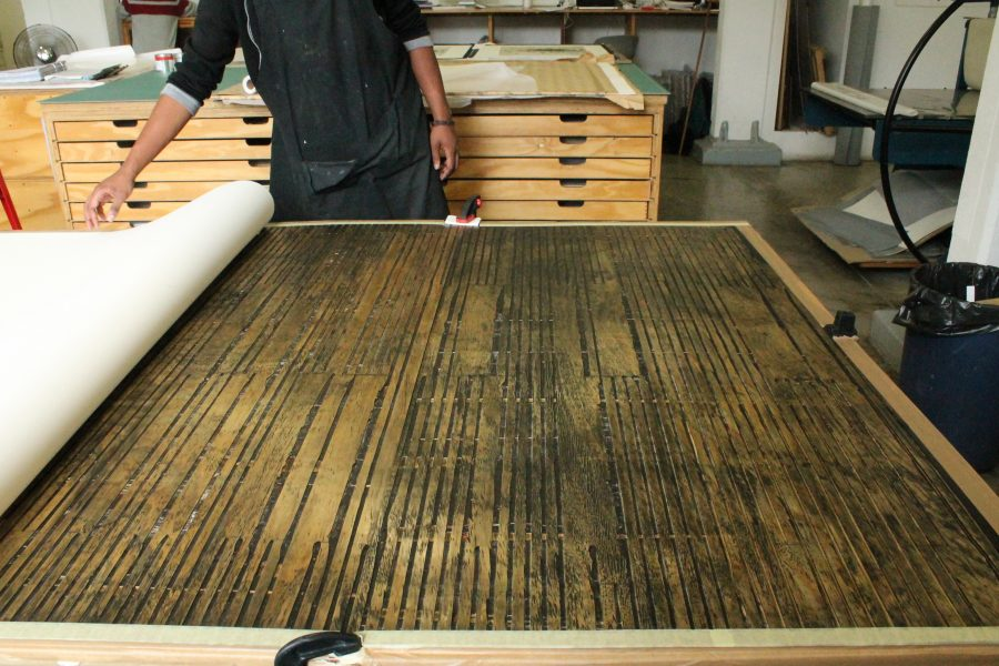 """All set, the woodcut for Mary Wafer's """"Veneer"""" is ready for printing."""