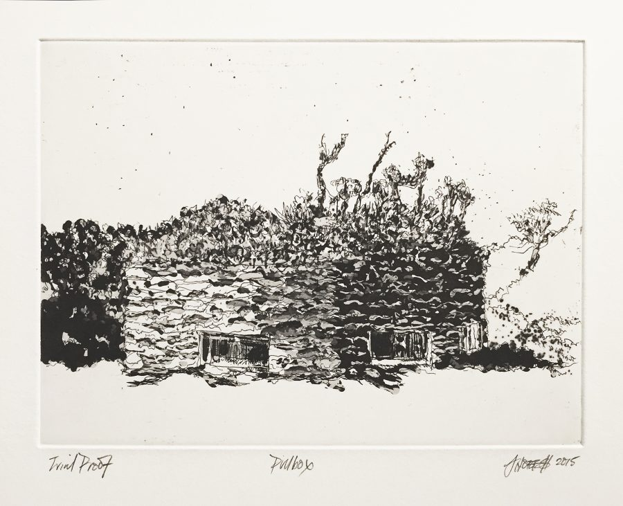 Pillbox - etching, hardground.