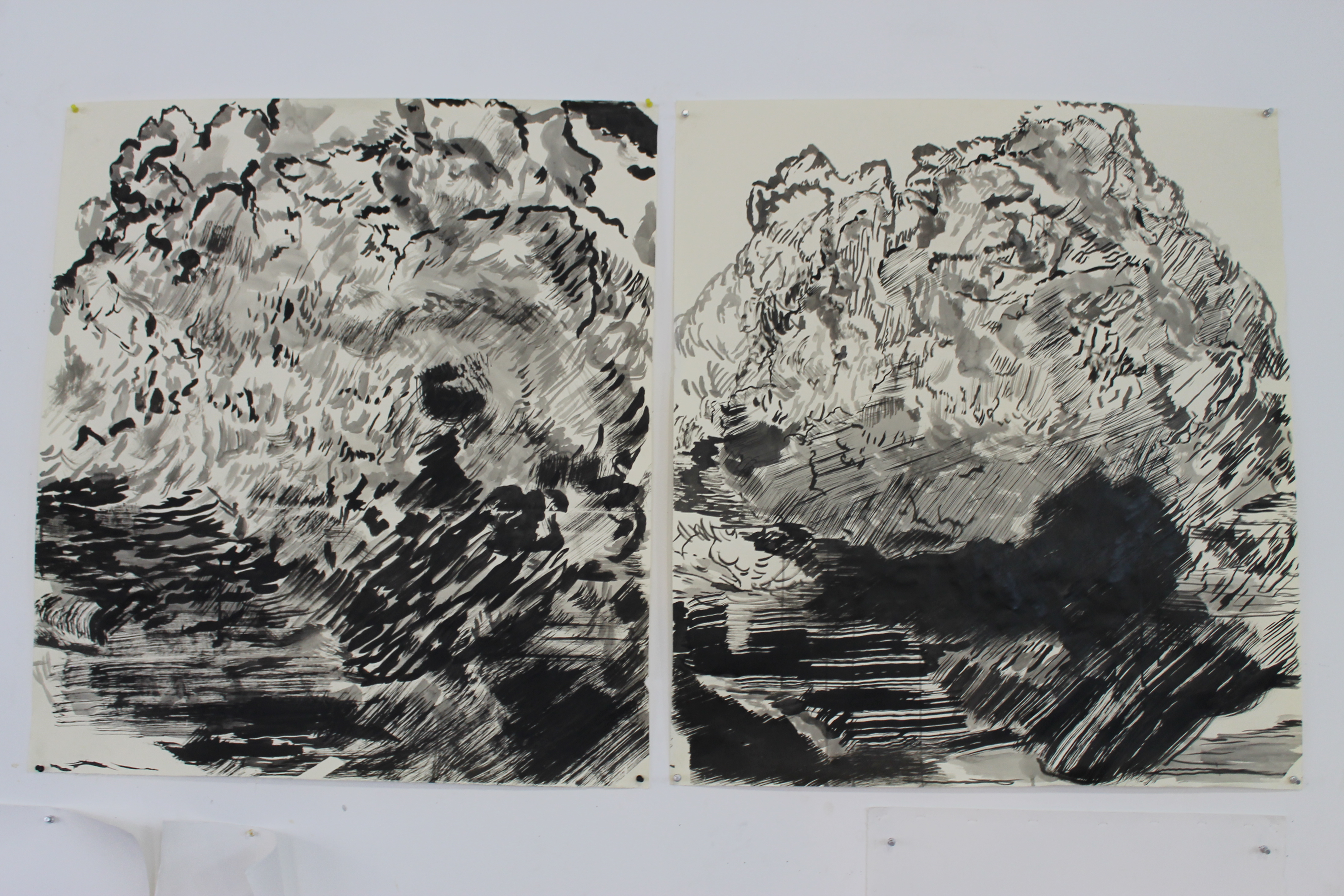 Penn made two ink drawings of the same cloud image, experimenting with different marks and compositions.