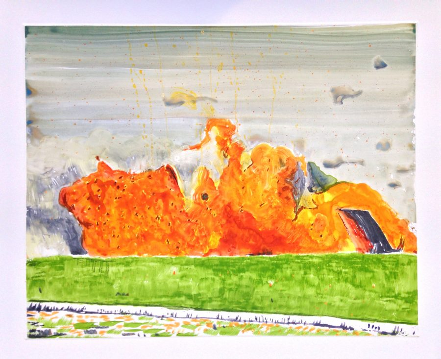 """Hindley: """"This work is a celebration of colour – the eye-watering combination of the orange and the green"""". This was the first print which Hindley tested the multiple plate technique."""