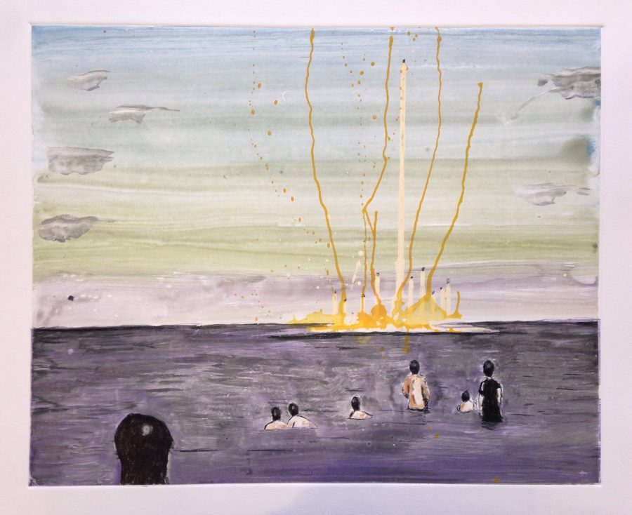 """Seascape, 2016, watercolour monotype, 40x49.5 cm, R9500. """"It is not entirely clear what is going on. I am drawn to the mysterious mood of the image"""" - Hindley."""