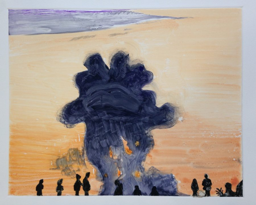 """Source material: A photograph of a group of Syrians watching what might be an air strike from a hill. There are plumes of smoke in the distance. Hindley is struck by how relaxed the people look – """"how everyday this occurrence seems, as if they are watching a sunset"""" (Hindley). Once again, the tension between beauty and destruction exists at the forefront of his work."""