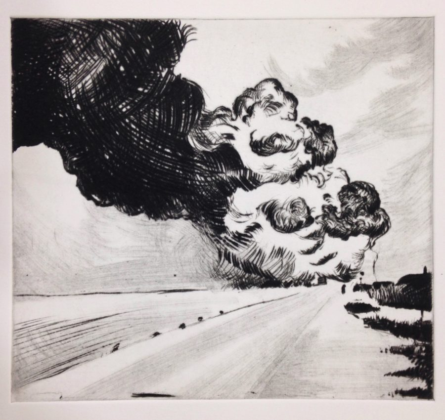 The Distant Clouds, 2016, drypoint, 20x21.7 cm, R1750