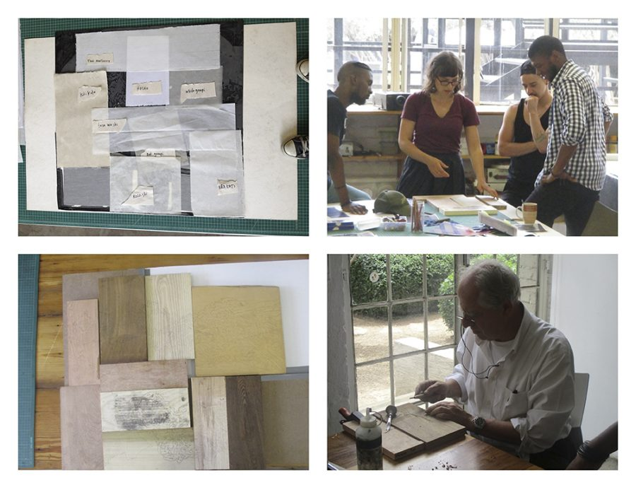 Ross and her printing team can be seen testing multiple different papers and wood grains at this early stage in the project. Kentridge can be seen testing a block to get a feel for the task at hand.