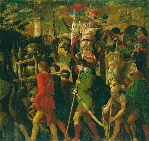 The Corselet Bearers is canvas VI of IX in Mantegna's series The Triumphs of Caesar (1484-1492).