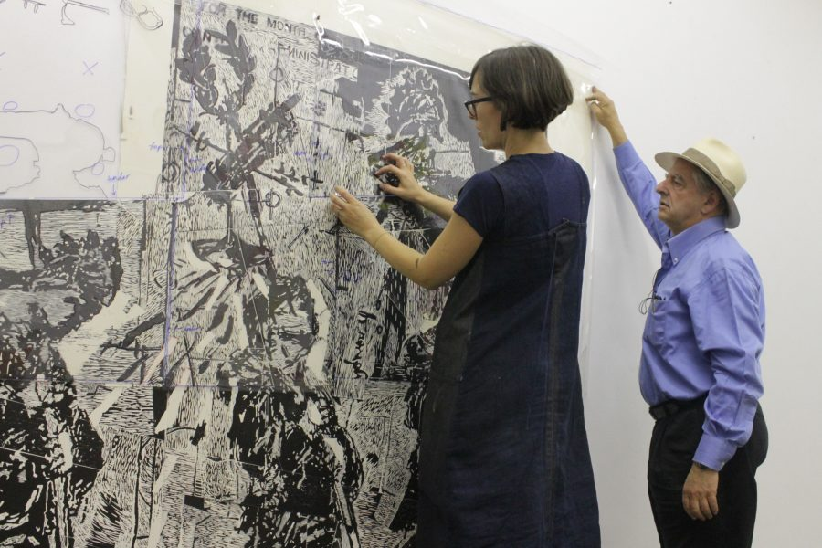 Crunch time: Ross and her team worked closely with Kentridge to finalize the piece.