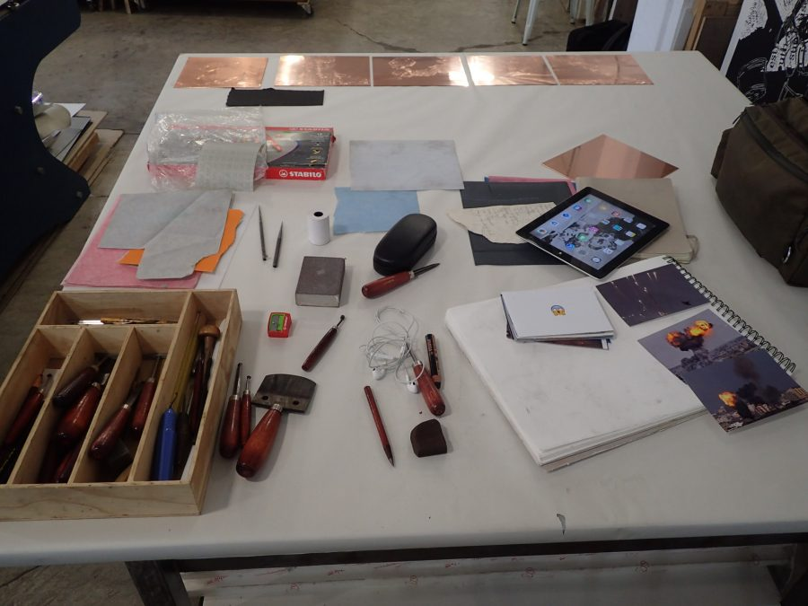 Hindley's works in progress. Source materials and burnishing tools.