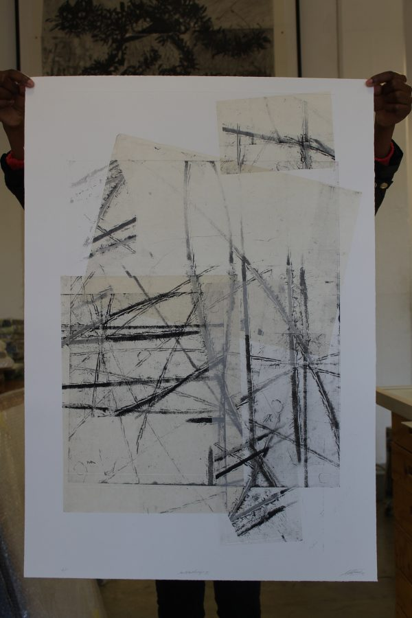 Mischa Fritsch: etching based on marks left by rolling a bicycle over the plate
