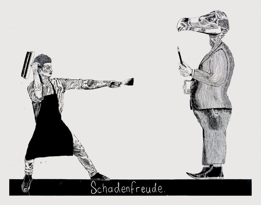 Schadenfreude, linocut, Cordeiro, 2015