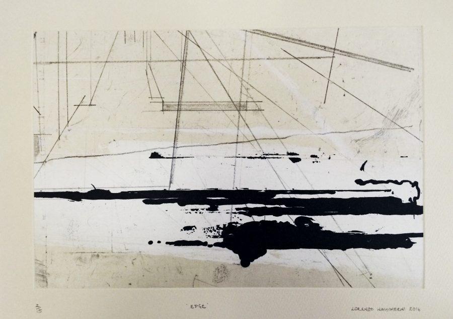 Edge, softground etching and sugarlift by Lorenzo Nassimbeni