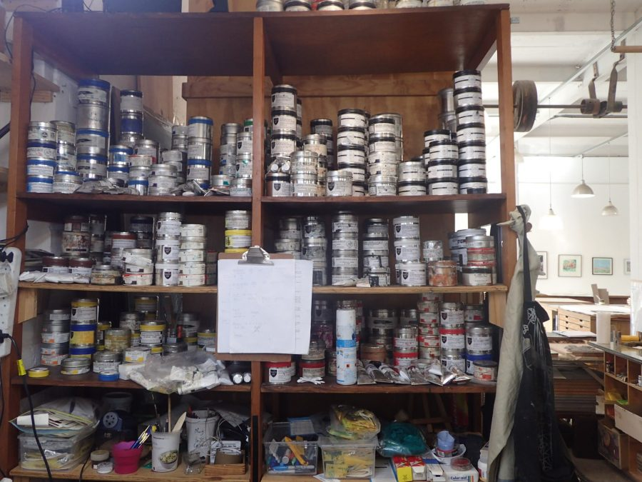 Inks galore: Jill keeps the workshop stocked with a wide range of ink colours, which are rarely used in their original form.