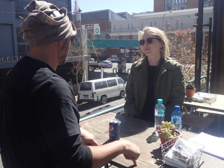DK Associated artist, Stephen Hobbs, treated Johnson to lunch in Maboneng on her first day in Joburg.