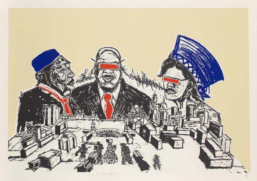 Sins of our leaders, linocut by Senzo Shabangu - temporarily removed for framing.