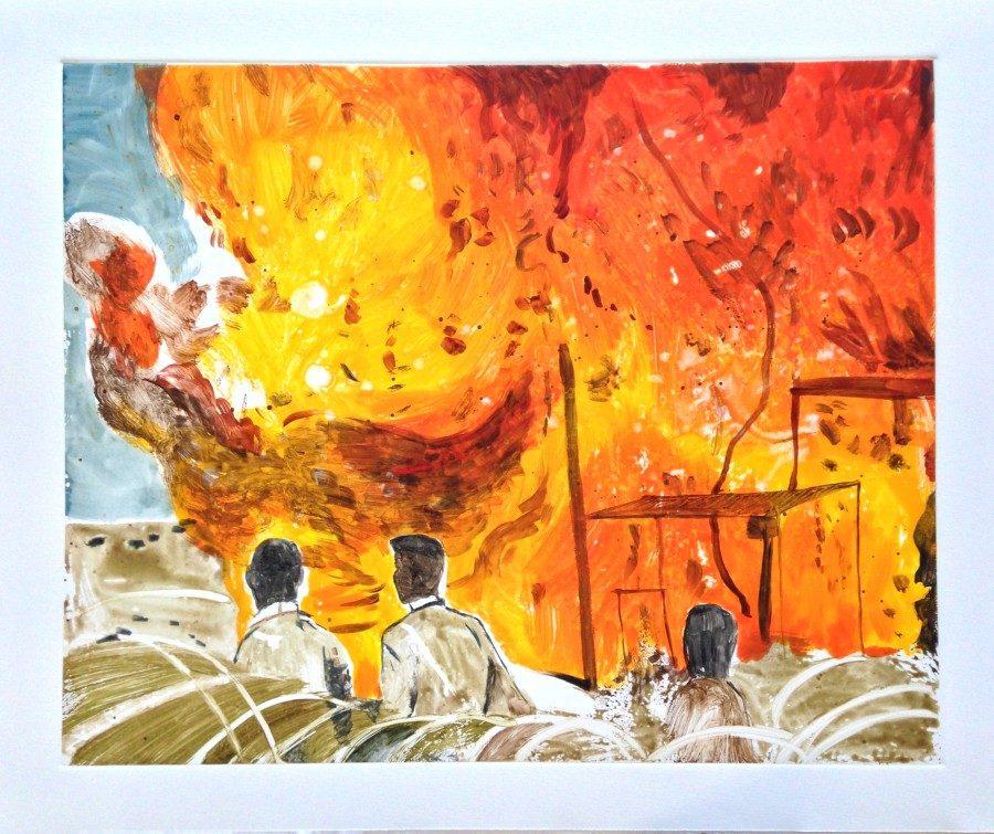 Matthew Hindley, Disengagement, 2016, Watercolour monotype.