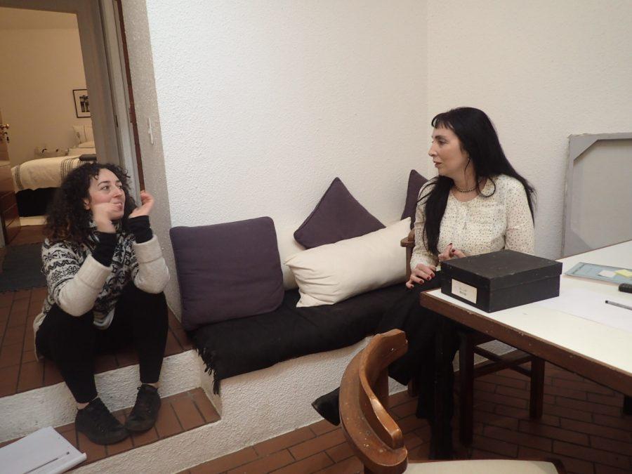 Lynda Ballen (right) in conversation with myself - Jessie Cohen - in her studio.