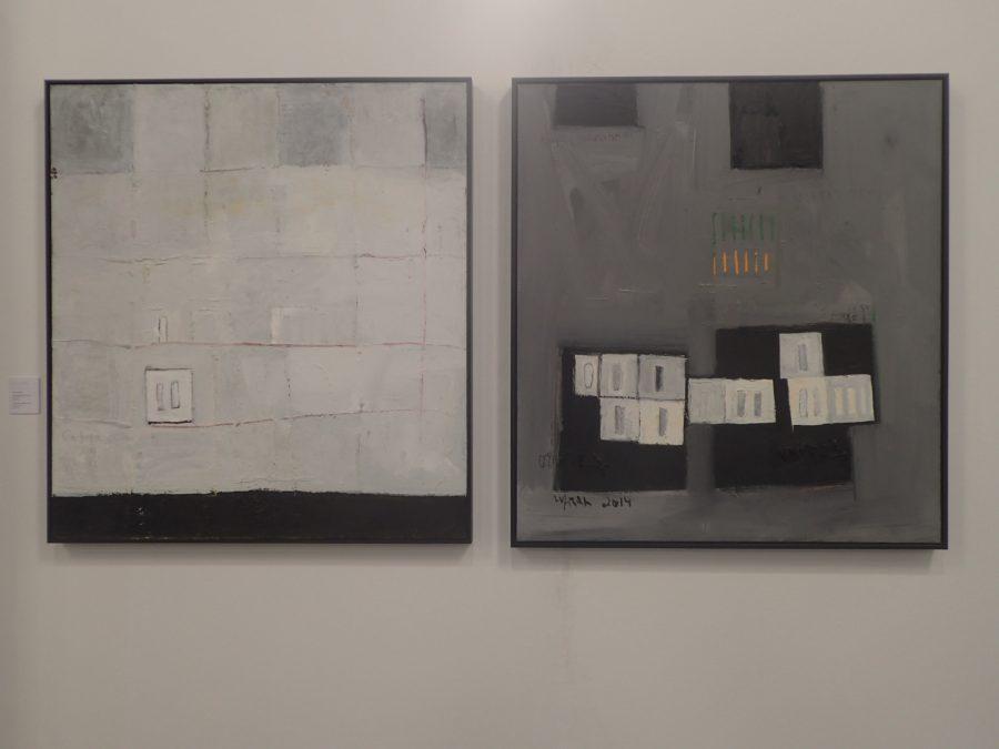 Endale Desalegn, On/Off (Mebrat/Metfat) 1 & 2, 2014, oil paint on canvas.
