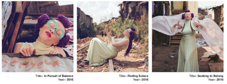 """Collection: """"Stranger in a Familiar Land""""(2016) """"Stranger in familiar land is a series that looks at the persecution of albinos in Sub-Saharan Africa. This project groups together various portraits of an albino woman set against the backdrop of the Kibera slums, which are a metaphor for my turbulent vision of the outside world."""""""
