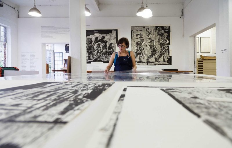 Master Printer Jillian Ross oversees the Triumphs & Laments Woodcut Prints