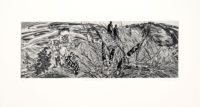 heidi fourie artwork drypoint etching blackened stems landscape of grasses with two figures in the distance