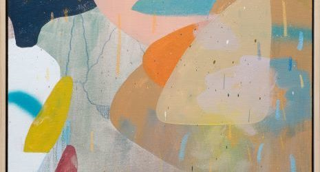 A square abstract painting on canvas of various colour mixed media shapes
