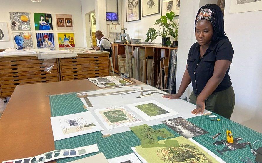 Helena Uambembe at the David Krut Workshop 2020