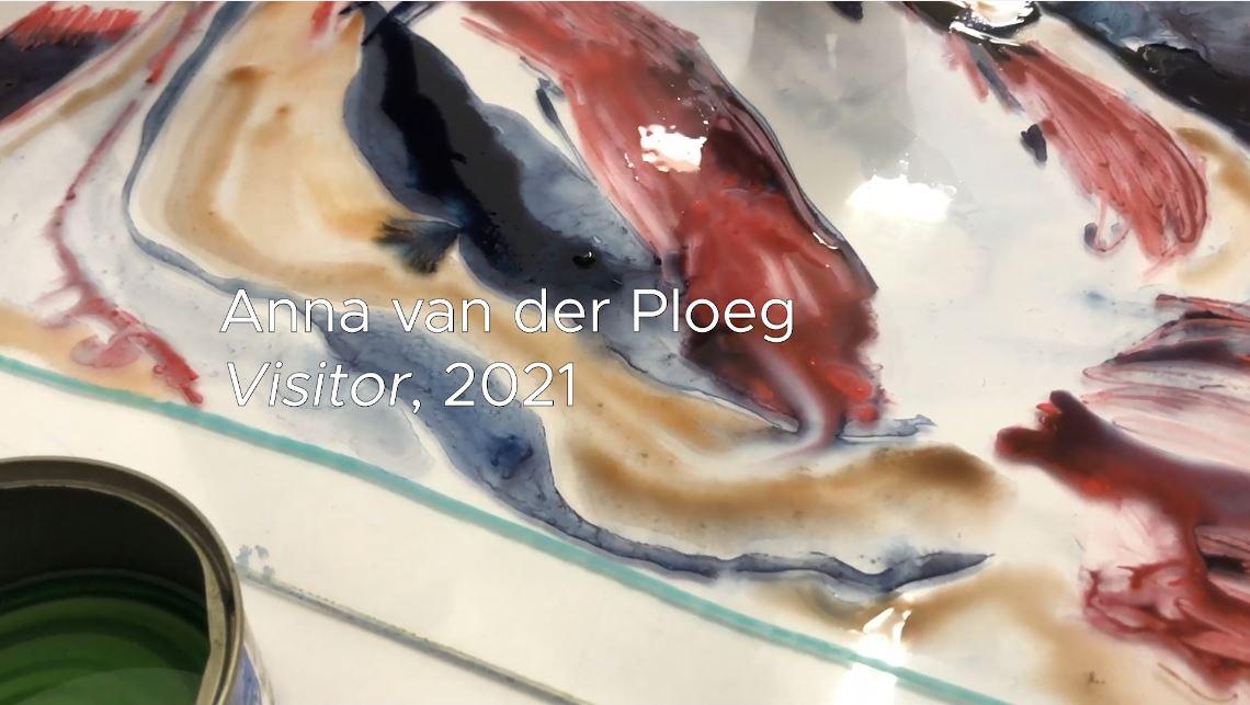 Anna van der Ploeg working on The Winds! water colour monotype series